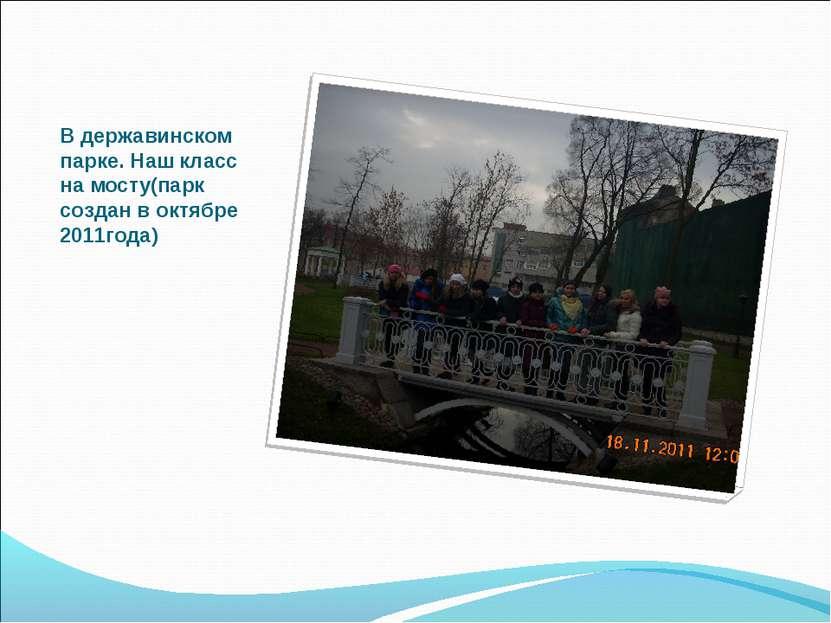 В державинском парке. Наш класс на мосту(парк создан в октябре 2011года)