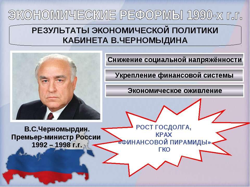 В.С.Черномырдин. Премьер-министр России 1992 – 1998 г.г. РЕЗУЛЬТАТЫ ЭКОНОМИЧЕ...