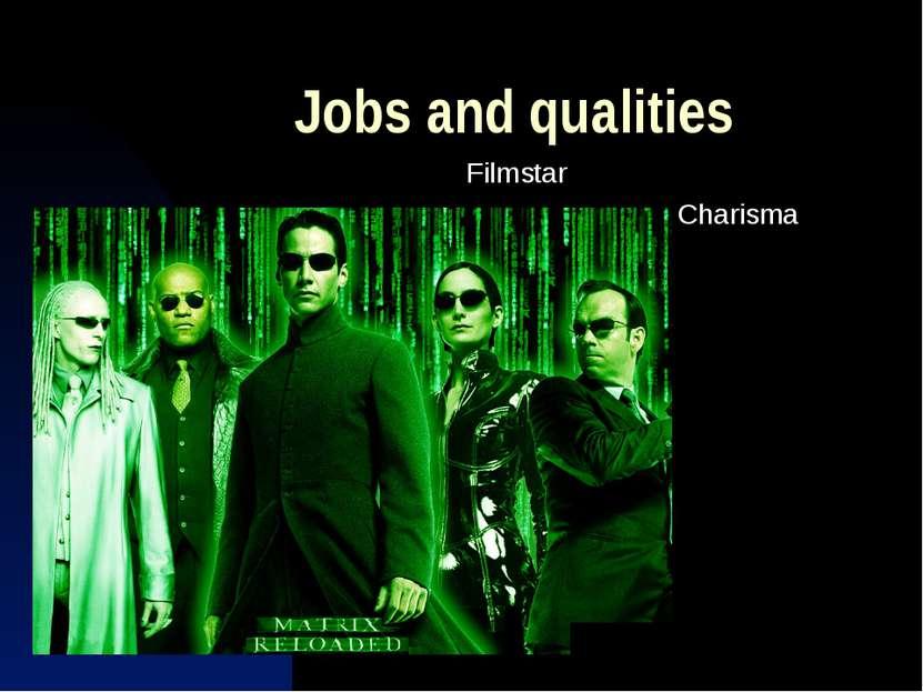 Jobs and qualities Filmstar Charisma