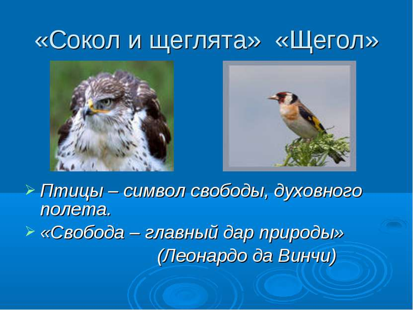 «Сокол и щеглята» «Щегол» Птицы – символ свободы, духовного полета. «Свобода ...