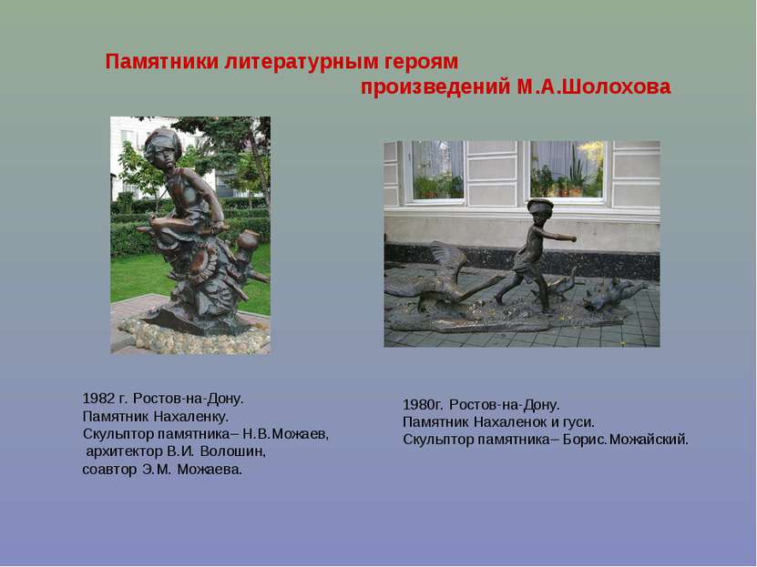 Памятники литературным героям произведений М.А.Шолохова 1982 г. Ростов-на-Дон...