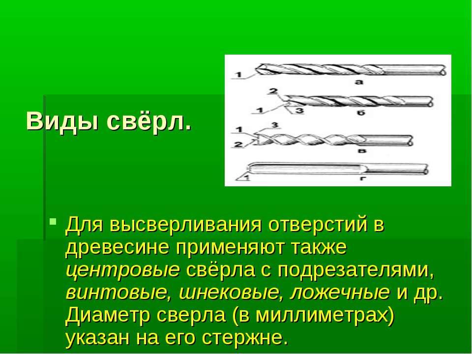 Виды свёрл. Для высверливания отверстий в древесине применяют также центровые...