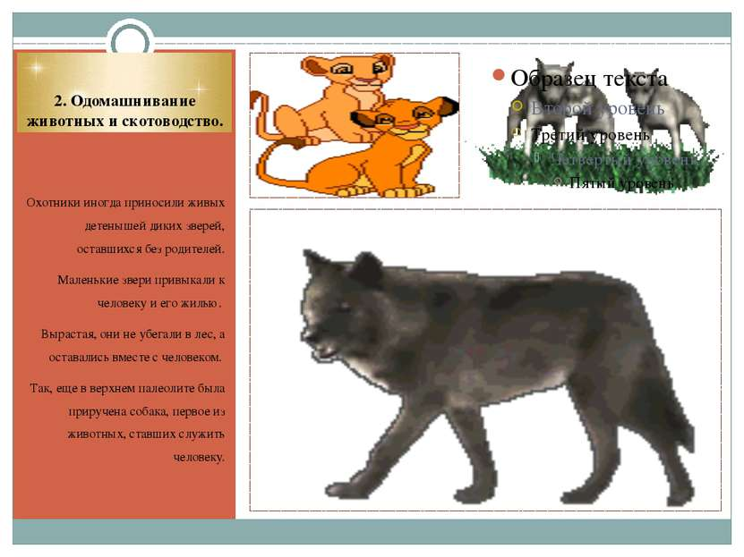 2. Одомашнивание животных и скотоводство. Охотники иногда приносили живых дет...