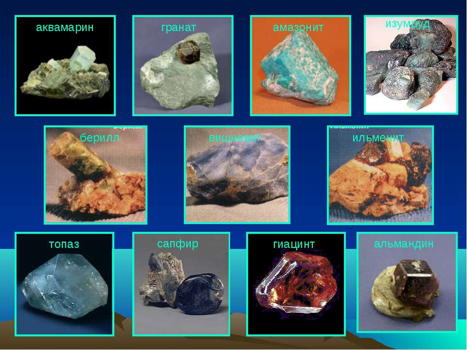 топаз сапфир альмандин гранат изумруд гиацинт амазонит аквамарин берилл ильме...