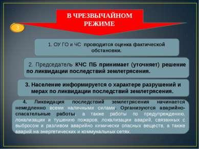 1. ОУ ГО и ЧС проводится оценка фактической обстановки. 2. Председатель КЧС П...
