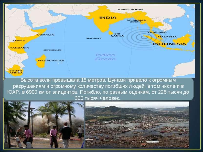 Высота волн превышала 15 метров. Цунами привело к огромным разрушениям и огро...