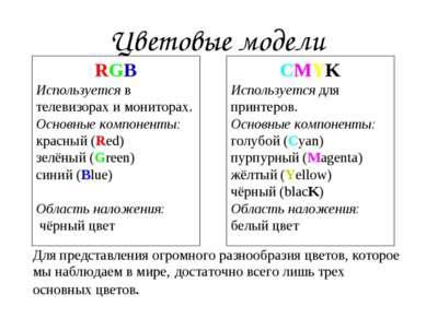 Цветовые модели RGB Используется в телевизорах и мониторах. Основные компонен...