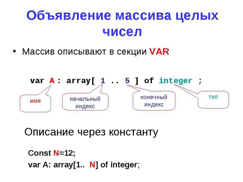 Объявление массива целых чисел Массив описывают в секции VAR Const N=12; var ...