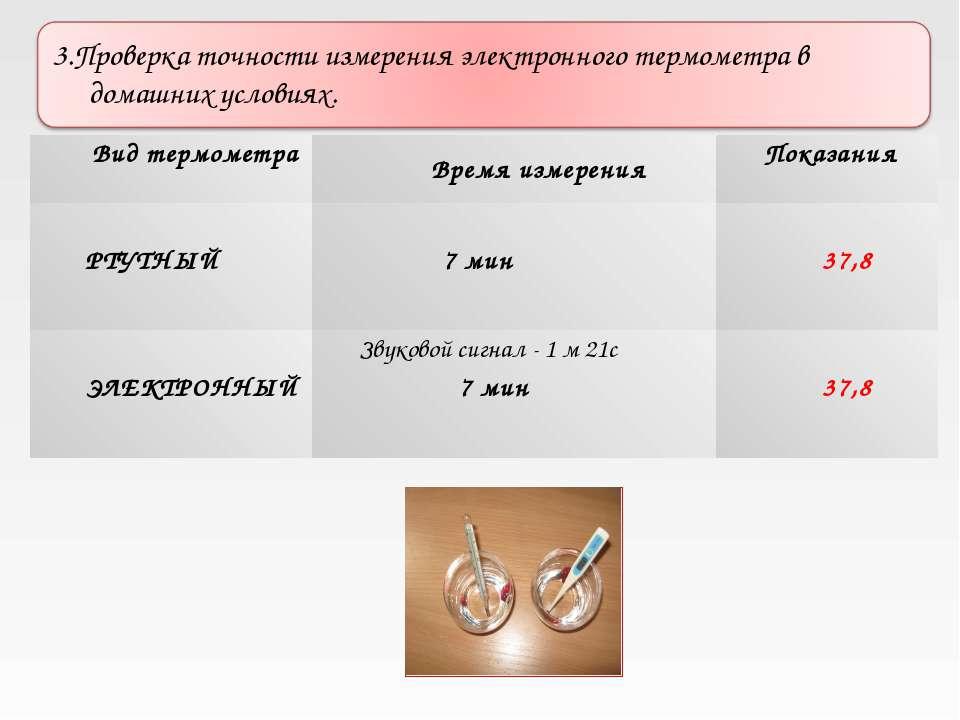 Вид термометра Время измерения Показания РТУТНЫЙ 7 мин 37,8 ЭЛЕКТРОННЫЙ Звуко...