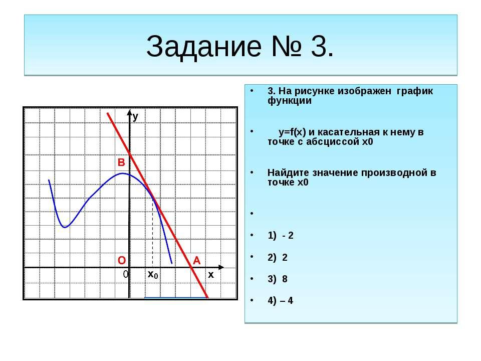 Задание № 3. 3. На рисунке изображен график функции y=f(x) и касательная к не...