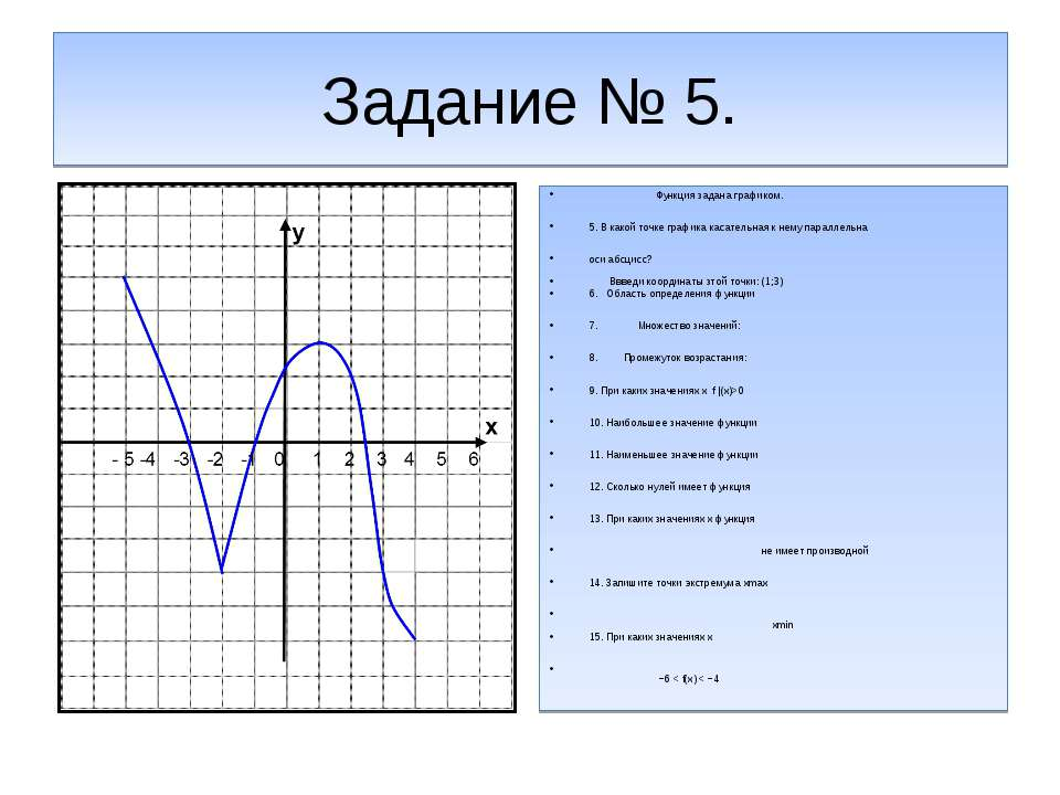 Задание № 5. Функция задана графиком. 5. В какой точке графика касательная к ...