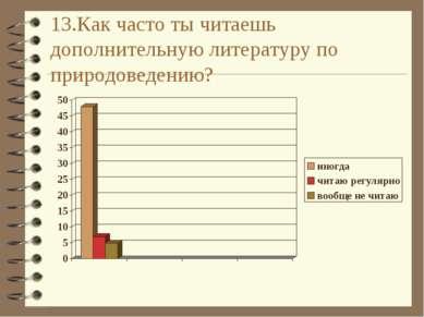 13.Как часто ты читаешь дополнительную литературу по природоведению?
