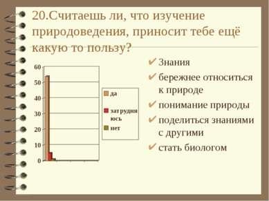20.Считаешь ли, что изучение природоведения, приносит тебе ещё какую то польз...