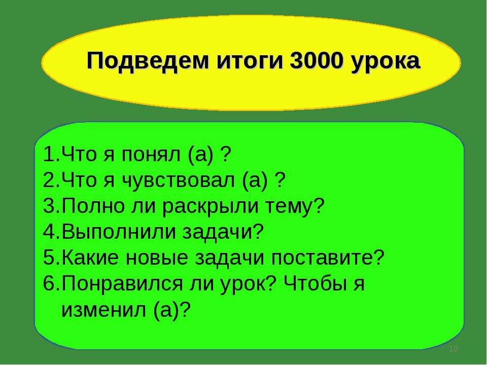 * Подведем итоги 3000 урока Что я понял (а) ? Что я чувствовал (а) ? Полно ли...