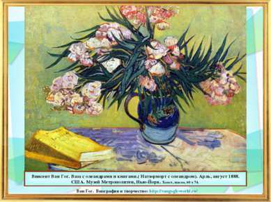 Винсент Ван Гог. Ваза с олеандрами и книгами.( Натюрморт с олеандром). Арль, ...
