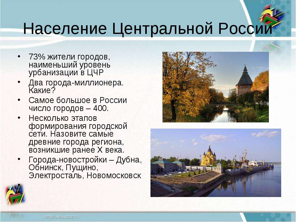Население Центральной России 73% жители городов, наименьший уровень урбанизац...