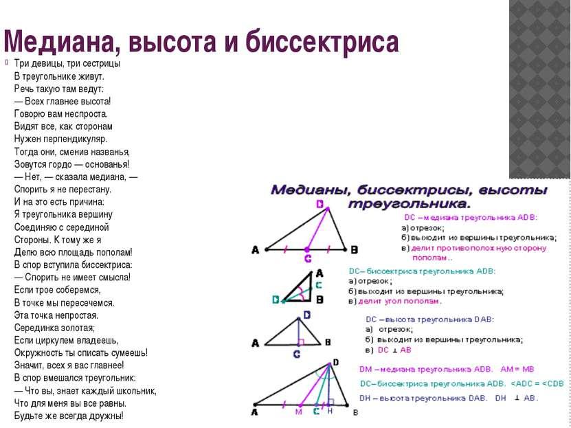 Медиана, высота и биссектриса Три девицы, три сестрицы В треугольнике живут. ...