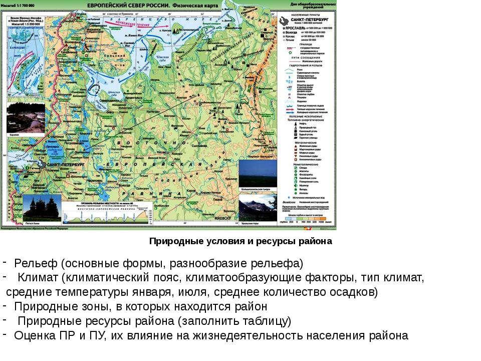Природные условия и ресурсы района Рельеф (основные формы, разнообразие релье...