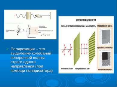 Поляризация – это выделение колебаний поперечной волны строго одного направле...
