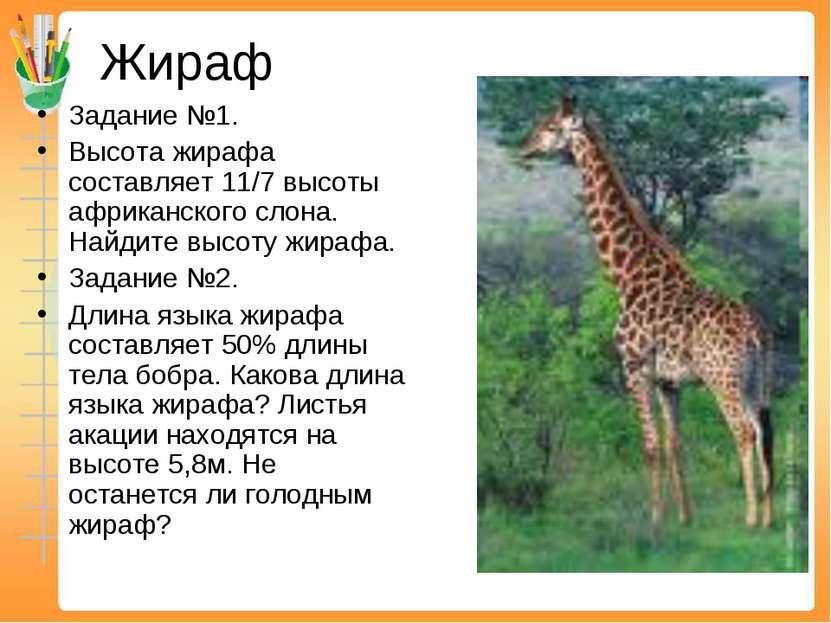 Жираф Задание №1. Высота жирафа составляет 11/7 высоты африканского слона. На...