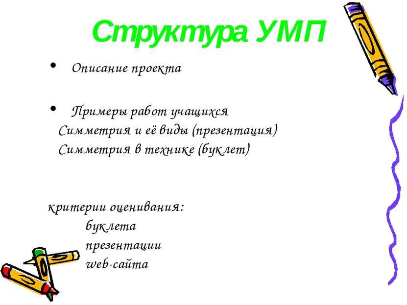 Структура УМП Описание проекта Примеры работ учащихся Симметрия и её виды (пр...