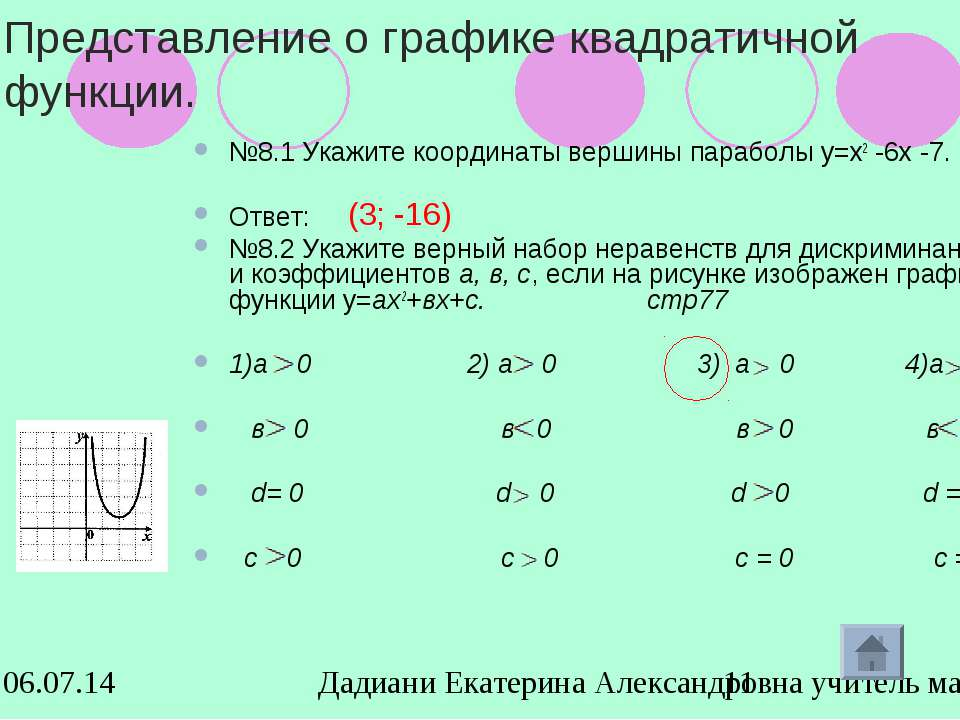 Представление о графике квадратичной функции. №8.1 Укажите координаты вершины...