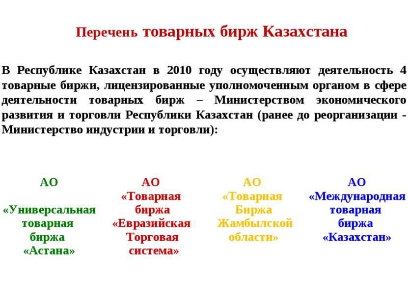 В Республике Казахстан в 2010 году осуществляют деятельность 4 товарные биржи...