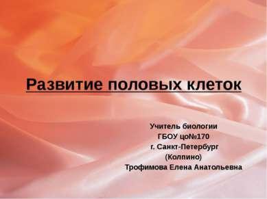 Развитие половых клеток Учитель биологии ГБОУ цо№170 г. Санкт-Петербург (Колп...