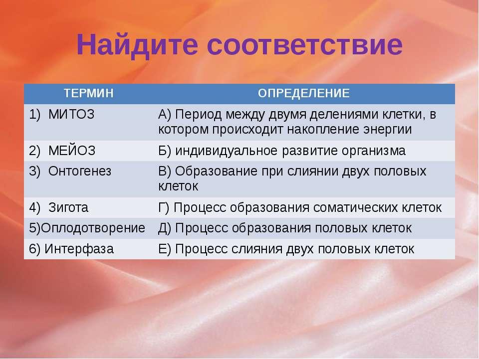 Найдите соответствие ТЕРМИН ОПРЕДЕЛЕНИЕ 1) МИТОЗ А) Периодмежду двумя деления...