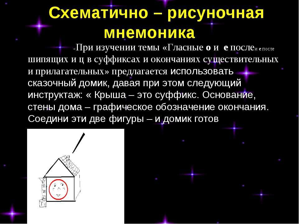 Схематично – рисуночная мнемоника при изучении темы «При изучении темы «Гласн...