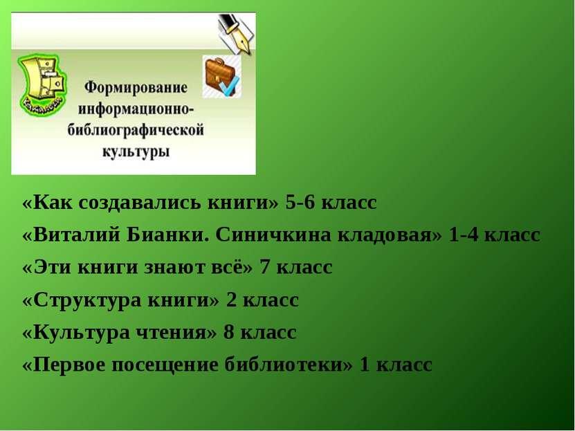 «Как создавались книги» 5-6 класс «Виталий Бианки. Синичкина кладовая» 1-4 кл...