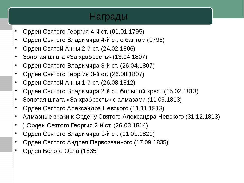 Награды Орден Святого Георгия4-й ст. (01.01.1795) Орден Святого Владимира4-...