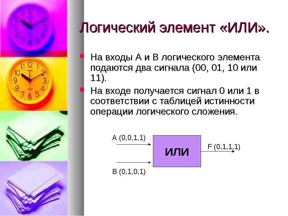 Логический элемент «ИЛИ». На входы А и В логического элемента подаются два си...