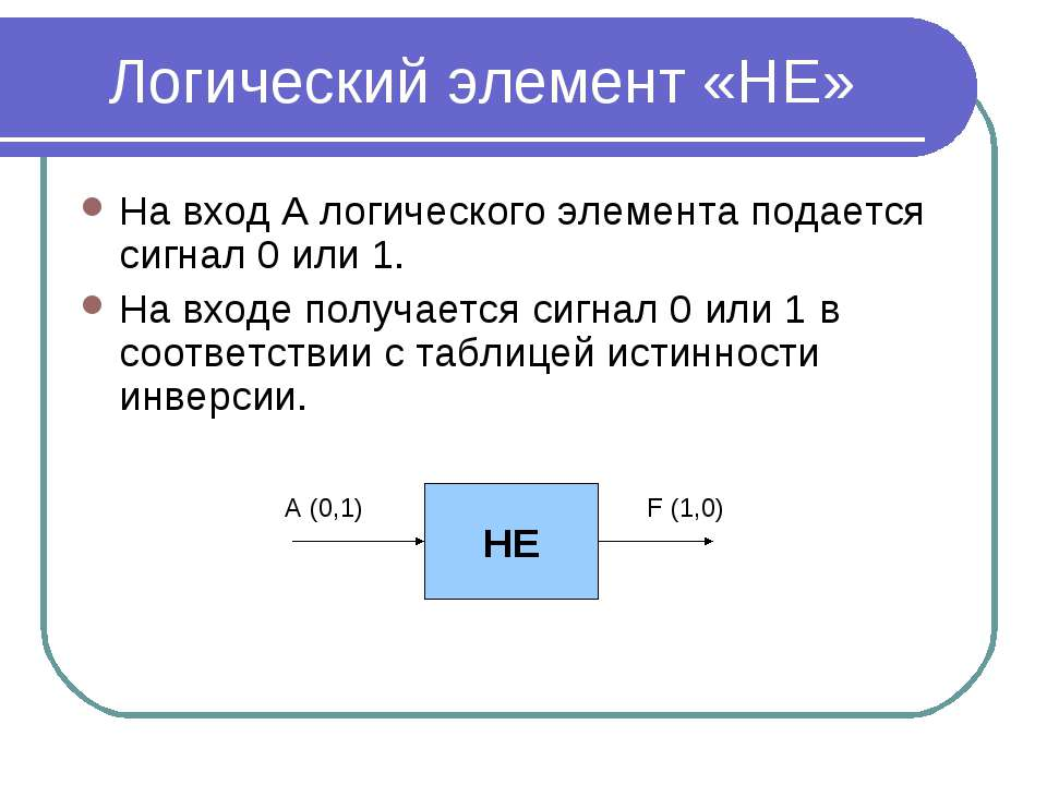 Логический элемент «НЕ» На вход А логического элемента подается сигнал 0 или ...