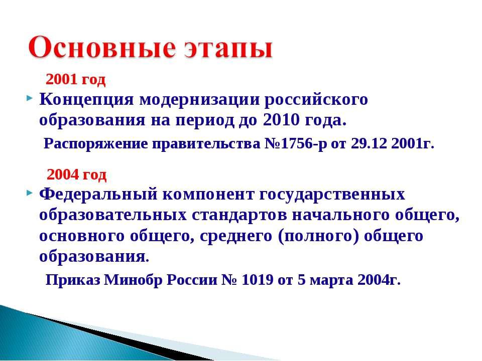 2001 год Концепция модернизации российского образования на период до 2010 год...