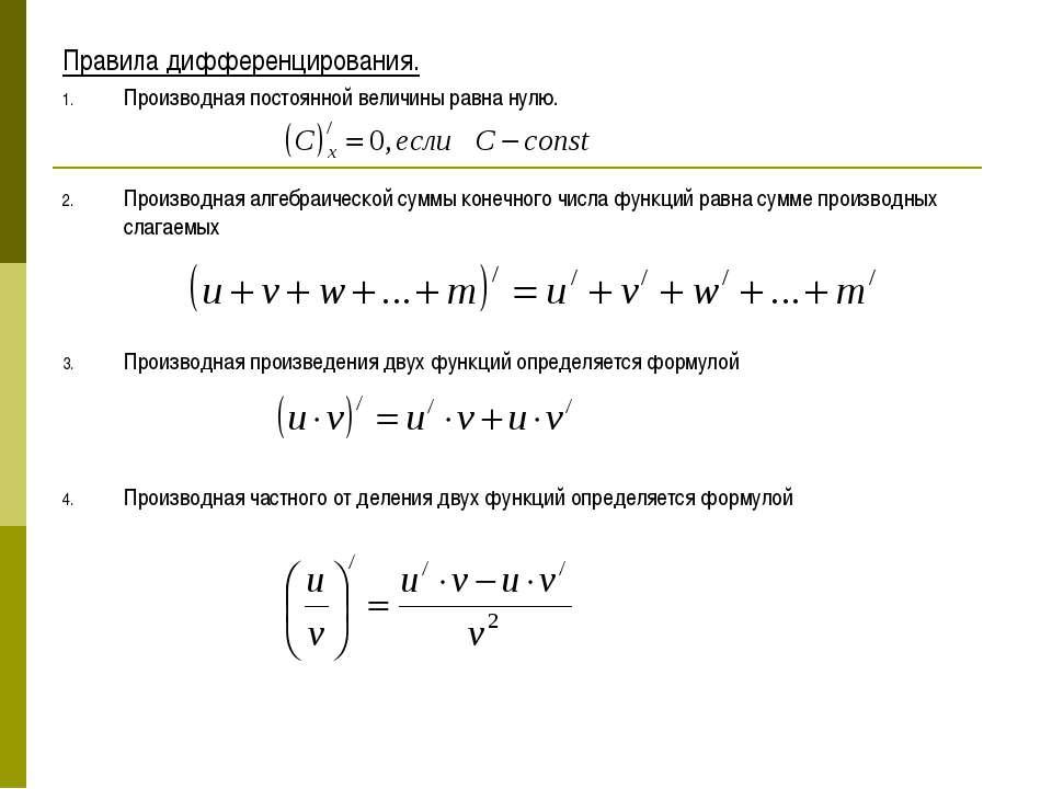 Правила дифференцирования. Производная постоянной величины равна нулю. Произв...
