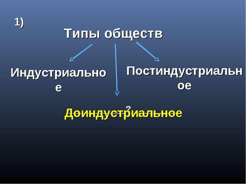 Типы обществ Индустриальное Постиндустриальное ___________?_________ 1) Доинд...
