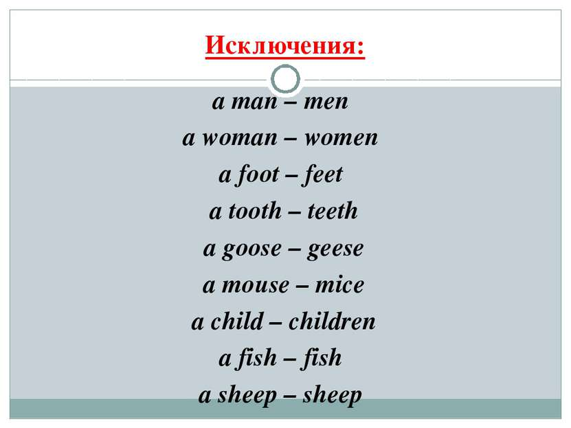Исключения: a man – men a woman – women a foot – feet a tooth – teeth a goose...