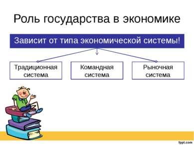 Роль государства в экономике Зависит от типа экономической системы!