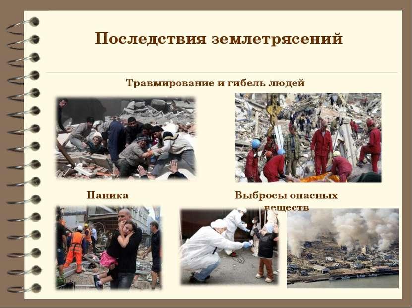 Последствия землетрясений Травмирование и гибель людей Паника Выбросы опасных...