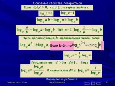Гимназия № 8, г. Сочи Чернобабова К.В. * Основные свойства логарифмов Если k=...