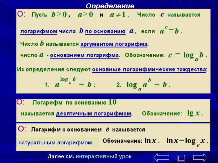 Определение натуральным логарифмом Далее см. интерактивный урок Чернобабова К.В.