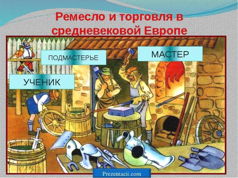 Ремесло и торговля в средневековой Европе МАСТЕР ПОДМАСТЕРЬЕ УЧЕНИК Prezentac...