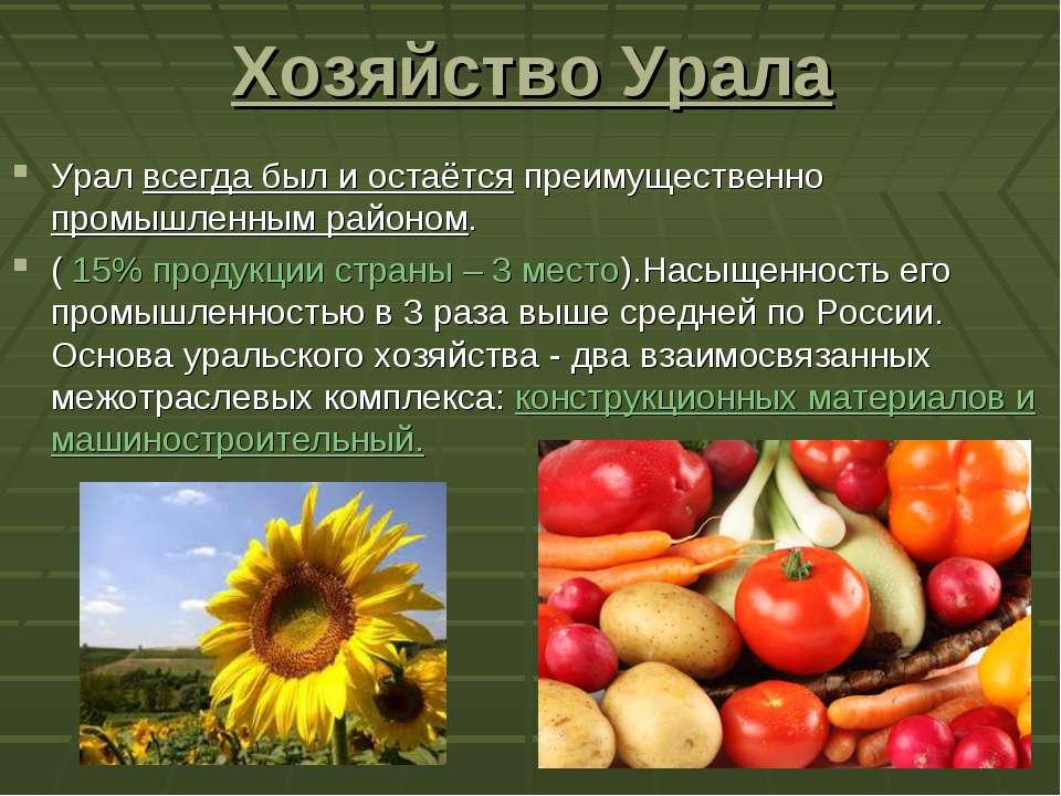 Хозяйство Урала Урал всегда был и остаётся преимущественно промышленным район...