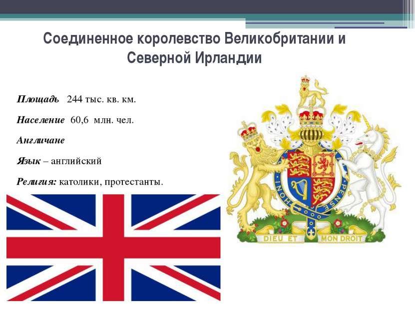 Соединенное королевство Великобритании и Северной Ирландии Площадь 244 тыс. к...