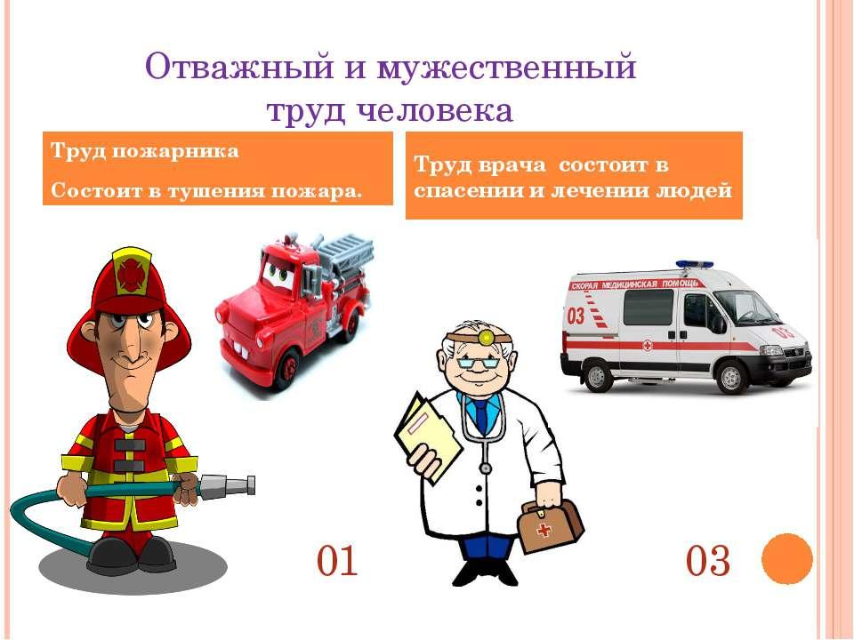 Отважный и мужественный труд человека Труд пожарника Состоит в тушения пожара...