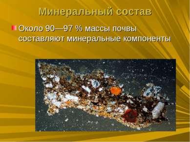 Минеральный состав Около 90—97% массы почвы составляют минеральные компоненты