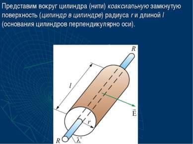 Представим вокруг цилиндра (нити) коаксиальную замкнутую поверхность (цилиндр...