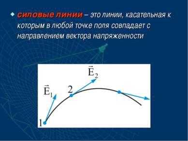 силовые линии – это линии, касательная к которым в любой точке поля совпадает...