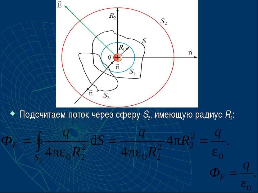Подсчитаем поток через сферу S2, имеющую радиус R2: